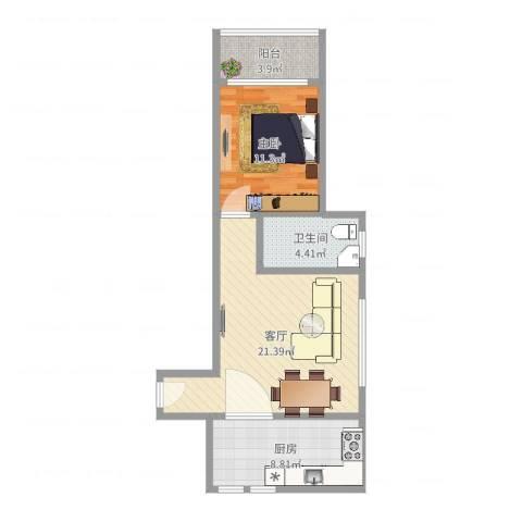 阳光威尼斯三期1室1厅1卫1厨62.00㎡户型图