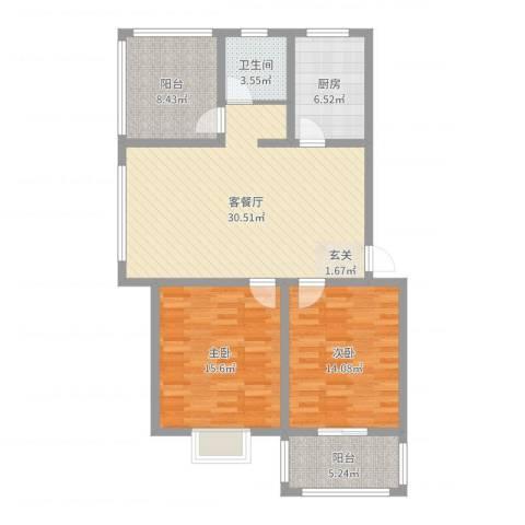 文萃苑别墅2室2厅1卫1厨105.00㎡户型图