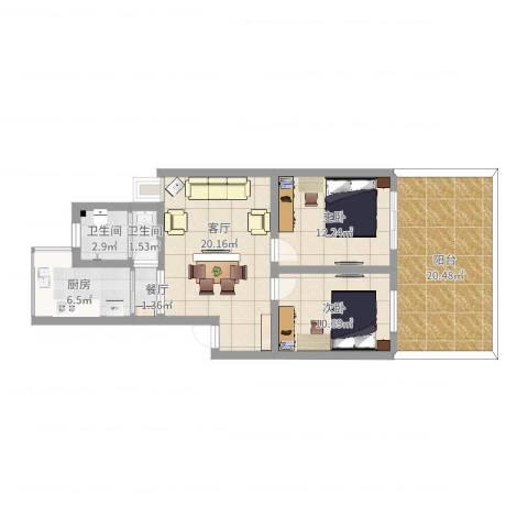 新安罗马花园王先生雅居设计方案2室2厅2卫1厨95.00㎡户型图