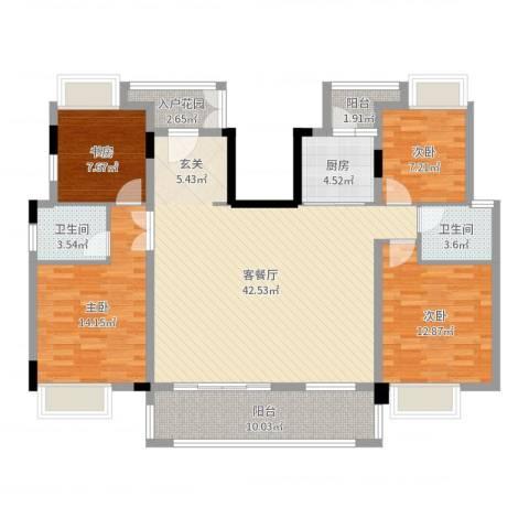 紫金山体育公园牡丹园4室2厅2卫1厨138.00㎡户型图