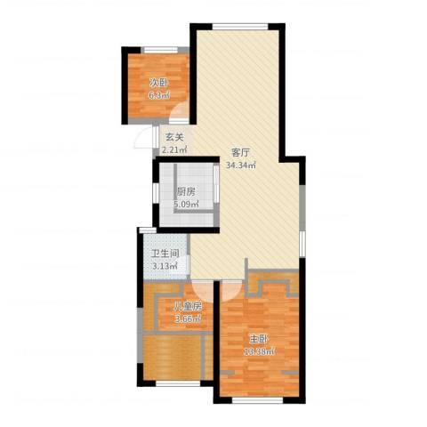 中天锦庭3室1厅1卫1厨91.00㎡户型图