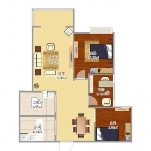 鑫苑世家3室1厅1卫1厨99.00㎡户型图