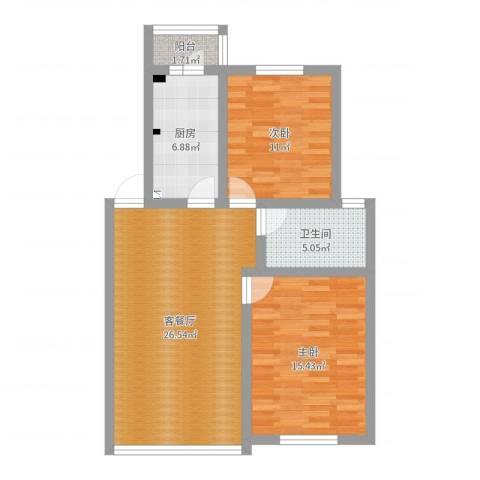 上南兰庭苑2室2厅1卫1厨83.00㎡户型图