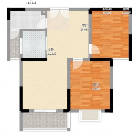 上海城黄浦花苑二期2室1厅1卫1厨80.00㎡户型图