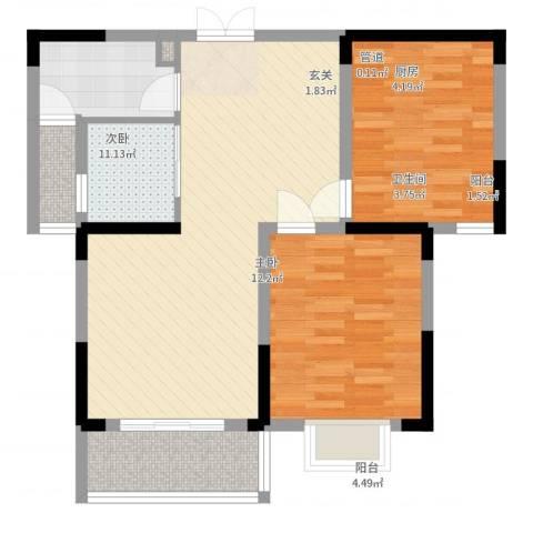 上海城黄浦花苑二期2室2厅1卫1厨93.00㎡户型图