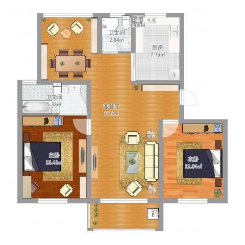 华夏名都2室2厅2卫1厨109.00㎡户型图
