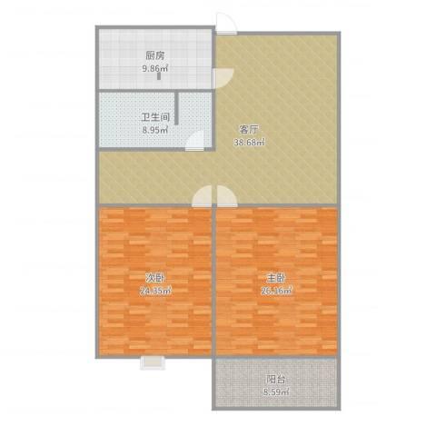 东方尚院2室1厅1卫1厨146.00㎡户型图