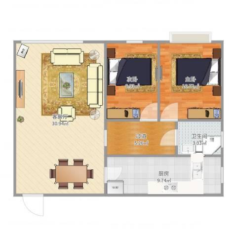 东方巴黎广场2室2厅1卫1厨86.00㎡户型图