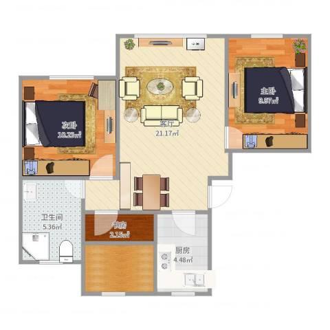 天房美域3室1厅1卫1厨71.00㎡户型图