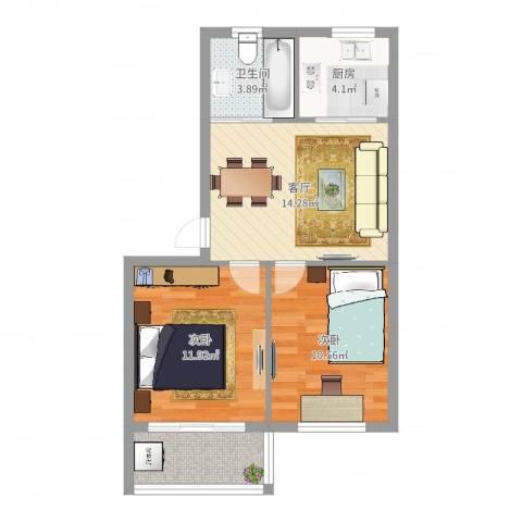 太阳公寓小区2室1厅1卫1厨61.00㎡户型图