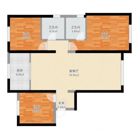 华远海蓝城3室2厅2卫1厨107.00㎡户型图