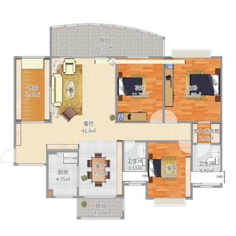 中澳新城景湖居4室1厅2卫1厨144.00㎡户型图