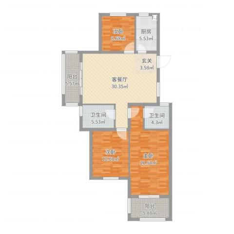 丰县翡翠城3室2厅2卫1厨125.00㎡户型图