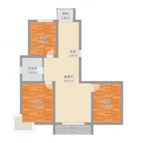 正大江南水乡3室2厅1卫1厨105.00㎡户型图