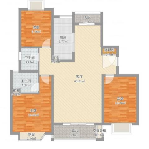太仓市大庆锦绣新城3室1厅2卫1厨129.00㎡户型图