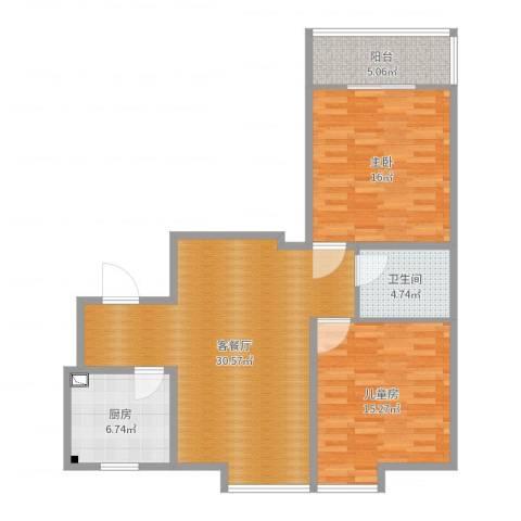 凤凰苑2室2厅1卫1厨98.00㎡户型图