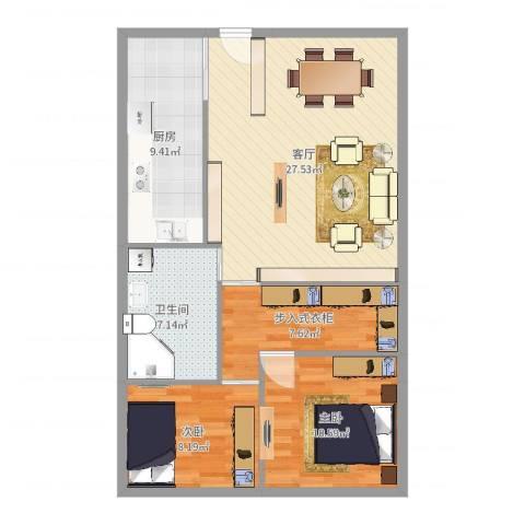 上坤公园天地2室1厅1卫1厨88.00㎡户型图