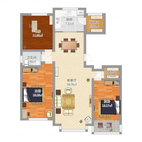 惠德花园3室2厅1卫1厨125.00㎡户型图
