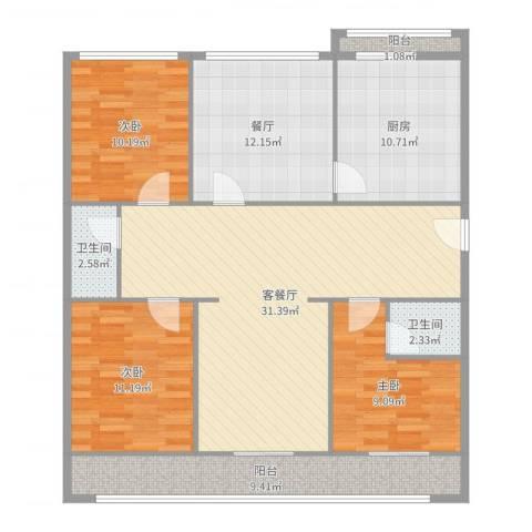 天鑫家园一期3室3厅2卫1厨125.00㎡户型图