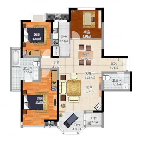东方米兰3室2厅2卫1厨117.00㎡户型图