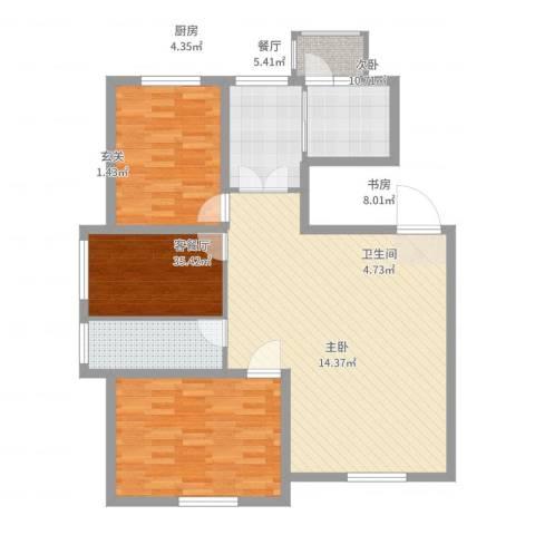 香墅湾庄园3室3厅1卫1厨106.00㎡户型图