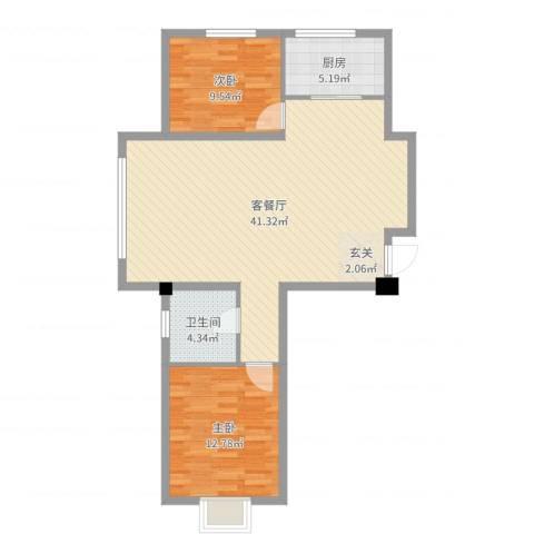 南郡天下2室2厅1卫1厨91.00㎡户型图