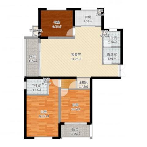 中铁四局四公司生活小区3室2厅2卫1厨117.00㎡户型图
