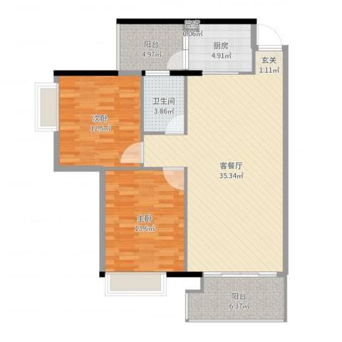 塘厦东港城2室2厅1卫1厨102.00㎡户型图
