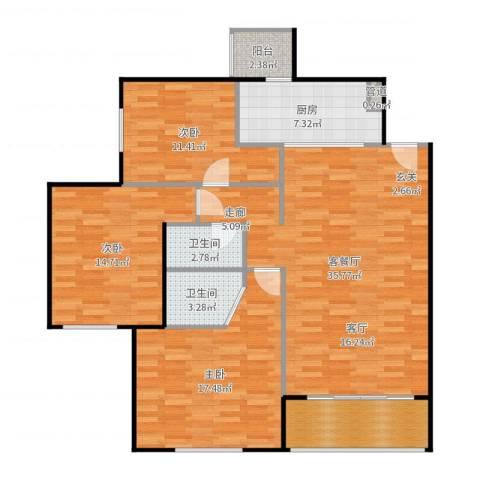 北苑家园莲葩园3室2厅2卫1厨127.00㎡户型图