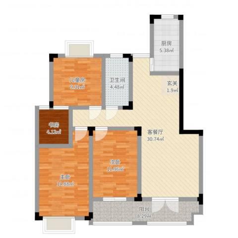 鹅湖一号4室2厅1卫1厨111.00㎡户型图