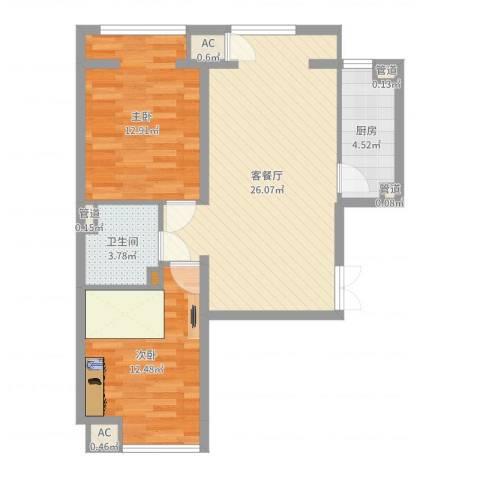 明天第一城7号院2室2厅1卫1厨77.00㎡户型图