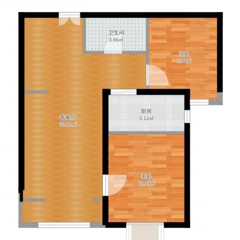 燕京航城2室2厅1卫1厨77.00㎡户型图