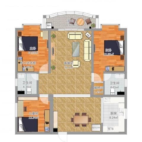 梦园小区3室2厅2卫1厨147.00㎡户型图