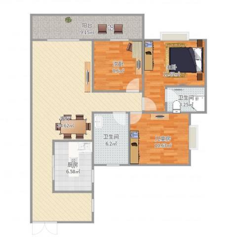 江南华都3室1厅2卫1厨113.00㎡户型图