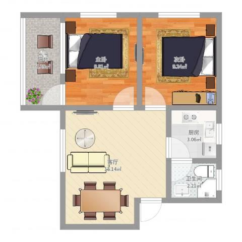 芳村大道西小区2室1厅1卫1厨54.00㎡户型图