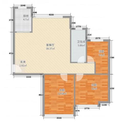 金广东海岸3室2厅1卫1厨127.00㎡户型图