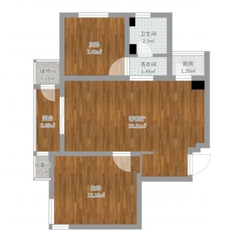 渤海天易园2室2厅1卫1厨67.00㎡户型图