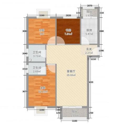 北京岭郡ONE3室2厅2卫1厨100.00㎡户型图