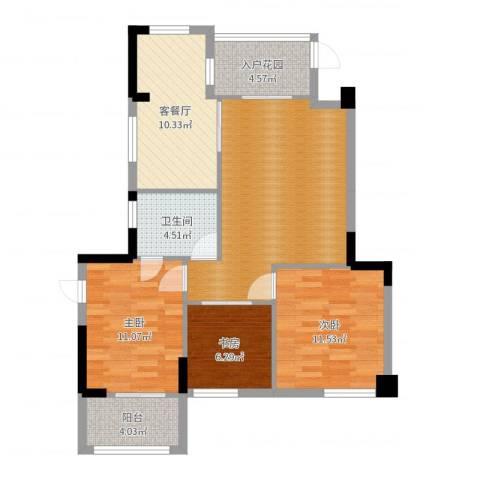 水岸书香3室2厅1卫0厨92.00㎡户型图