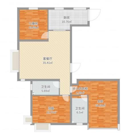 实华・金域蓝湾3室2厅2卫1厨139.00㎡户型图