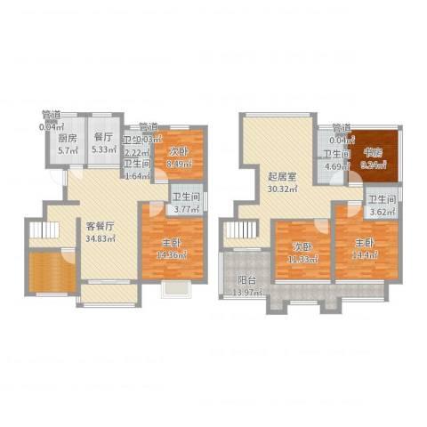晶龙湾名苑5室3厅5卫1厨213.00㎡户型图