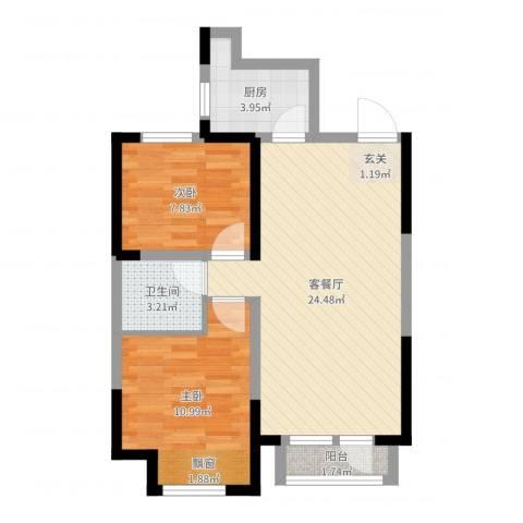 东安瑞凯国际2室2厅1卫1厨65.00㎡户型图