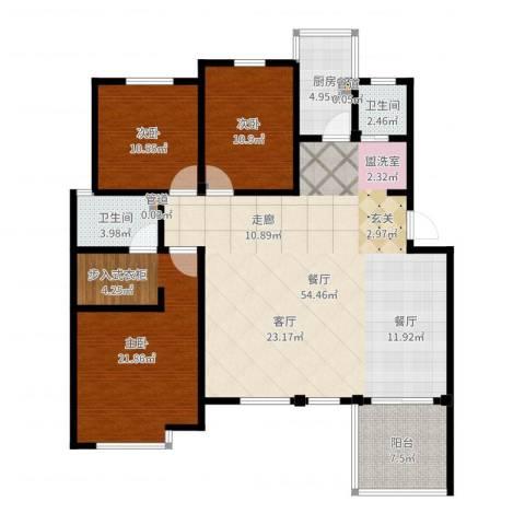 洪城比华利改3室1厅2卫1厨146.00㎡户型图