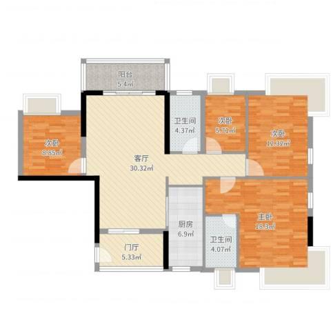 福泰花园4室1厅2卫1厨127.00㎡户型图