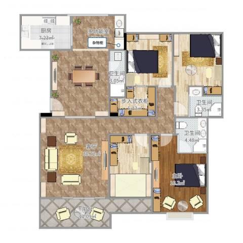 红棉新村1室1厅3卫1厨176.00㎡户型图