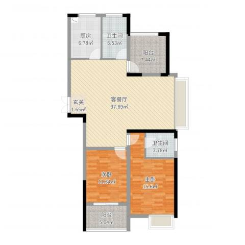 绿洲白马公馆2室2厅2卫1厨117.00㎡户型图