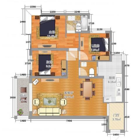 望江苑4-15-43室2厅1卫1厨99.00㎡户型图