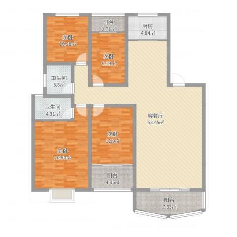 金海华景4室2厅2卫1厨168.00㎡户型图
