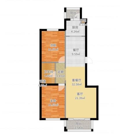 凯帝斯广场2室2厅1卫1厨87.00㎡户型图