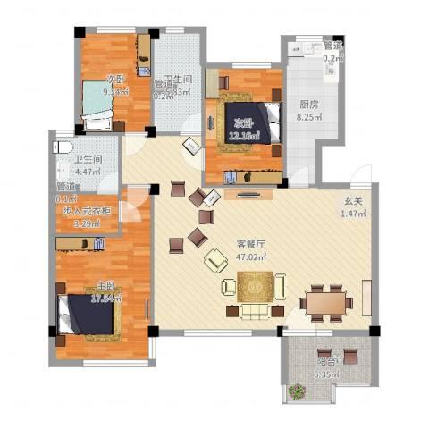 首创・琥珀湾3室2厅2卫1厨143.00㎡户型图